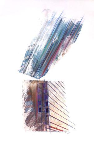 "Photo transfer, chalk pastel, painter's tape on paper 15"" x 22"""