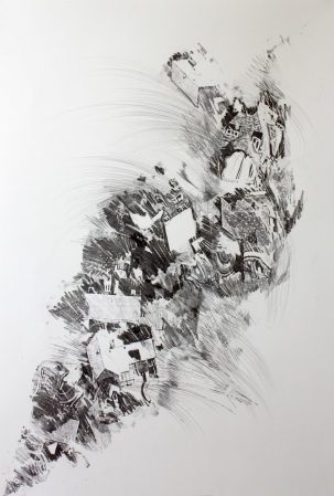 """55"""" x 55"""" Photo transfer, graphite, and pen on paper"""
