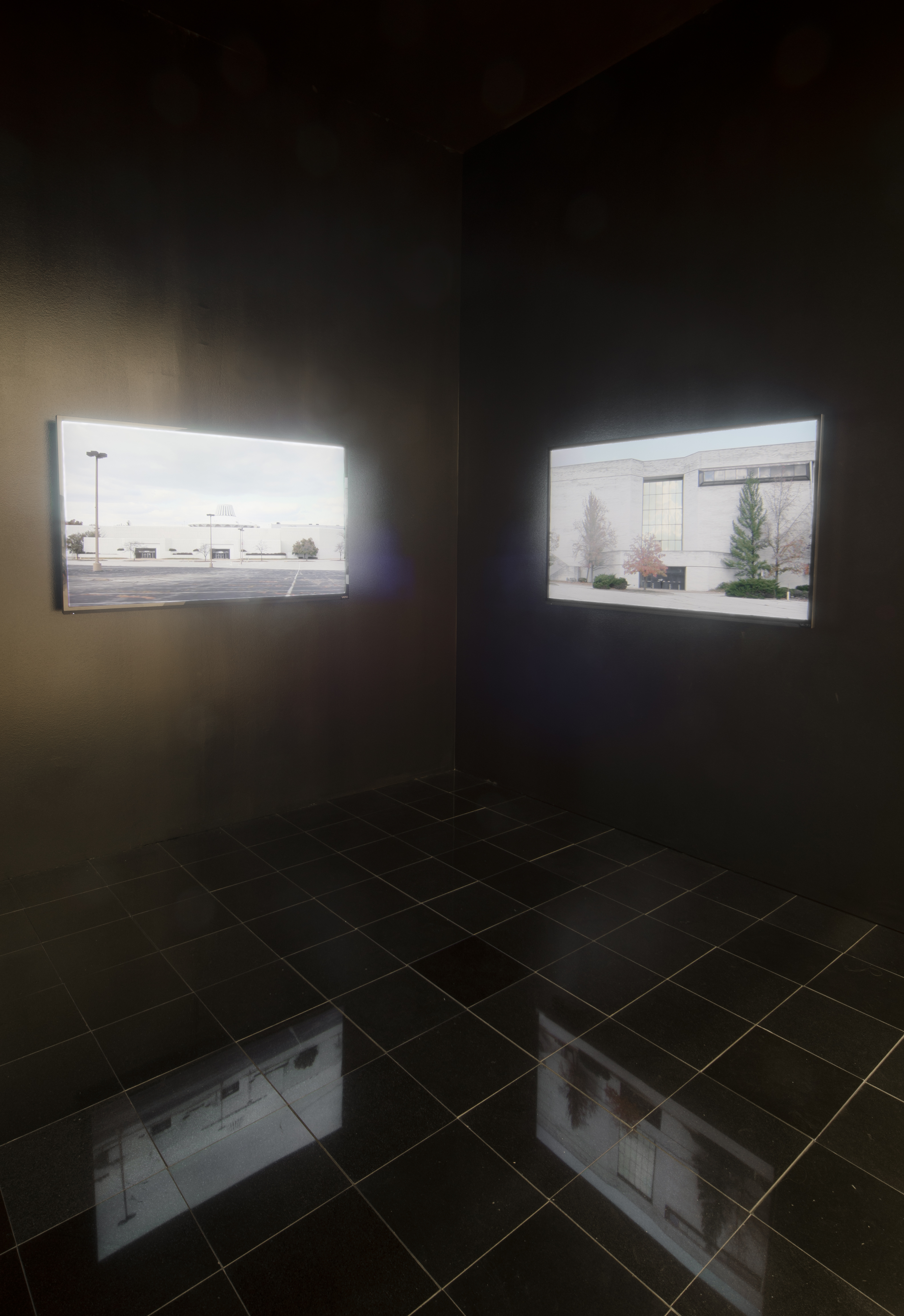 Installation view of screens of Retail Requiem at Mildred Kemper Lane Art Museum