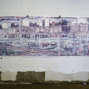 "180"" x 55"" Photo transfer, acrylic paint, and white pencil on paper"