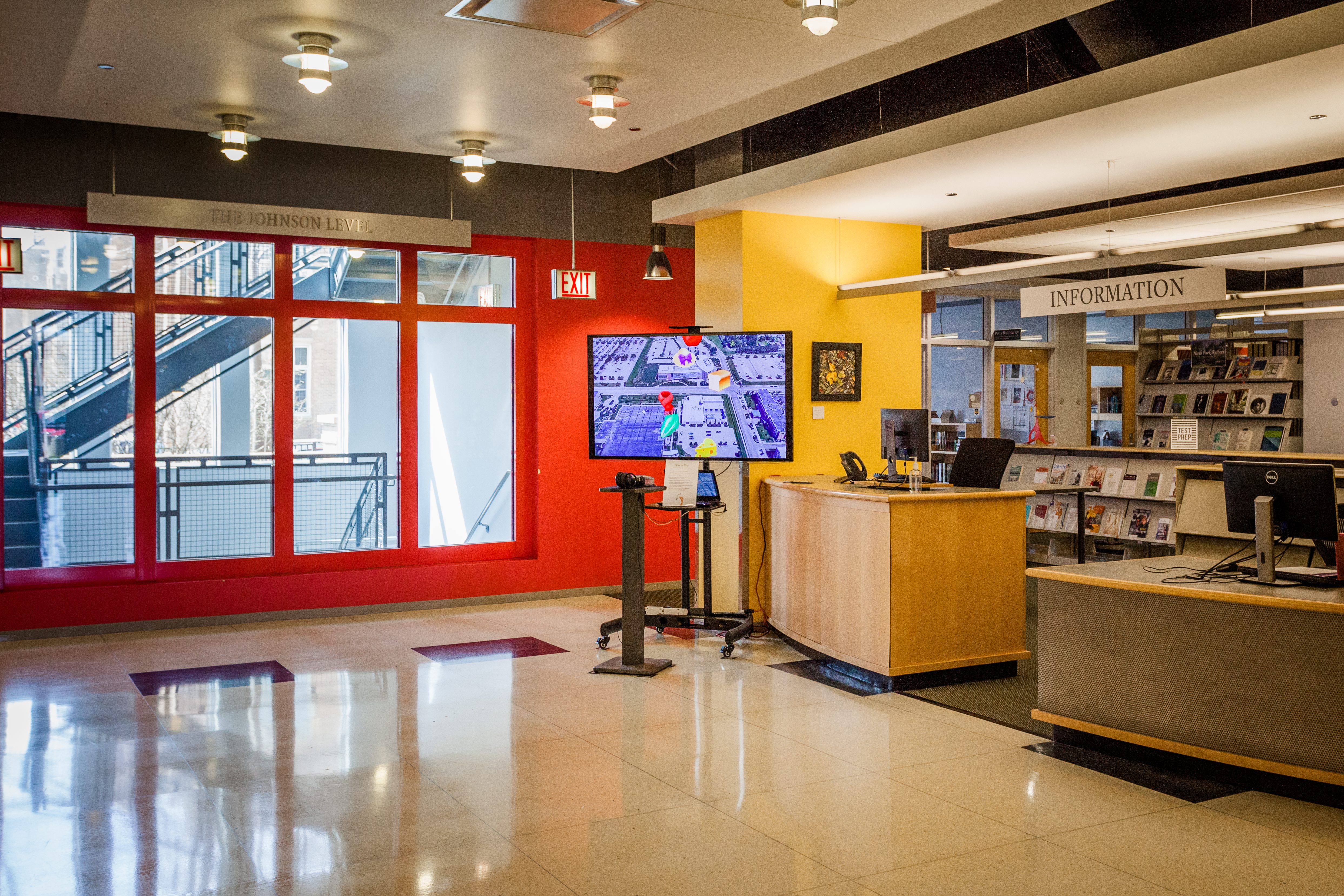 JaNae Contag installation of Strip! the Original Strip Mall Shopping Video Game at North Park University Brandel Library